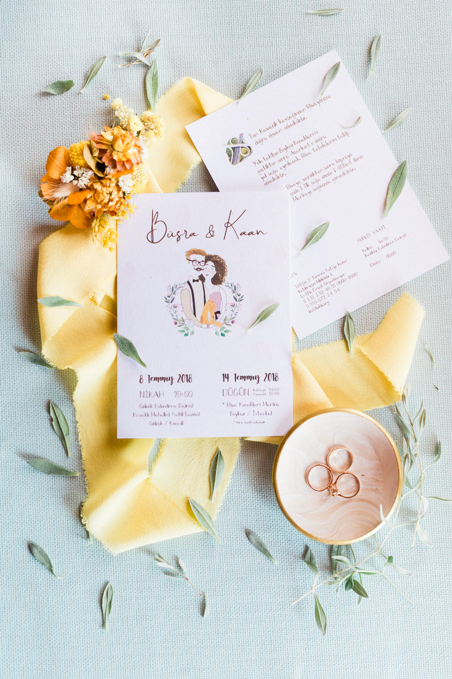 Colorful Countryside Wedding Flat Lay