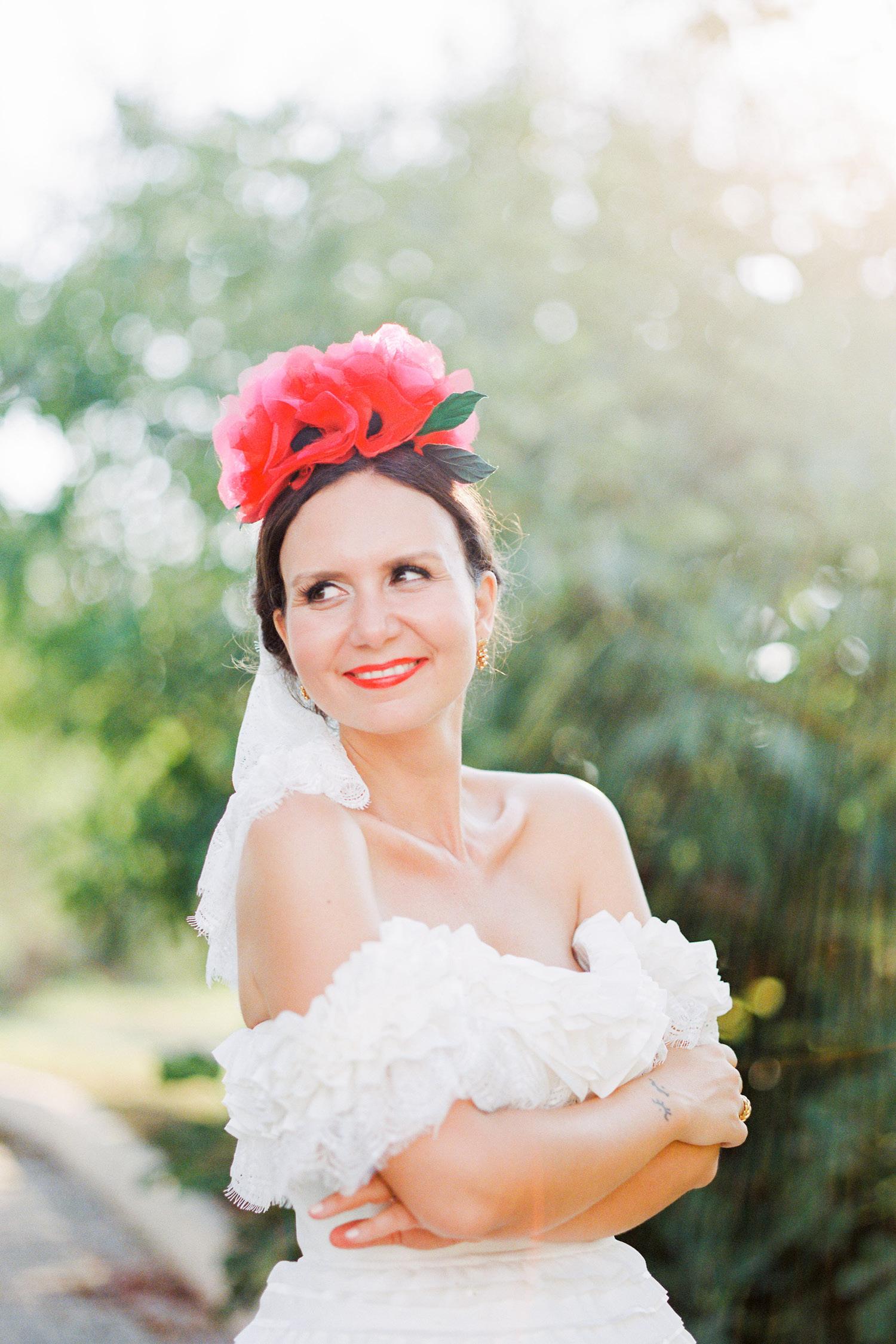 Mediterranean Vineyard Wedding Bride
