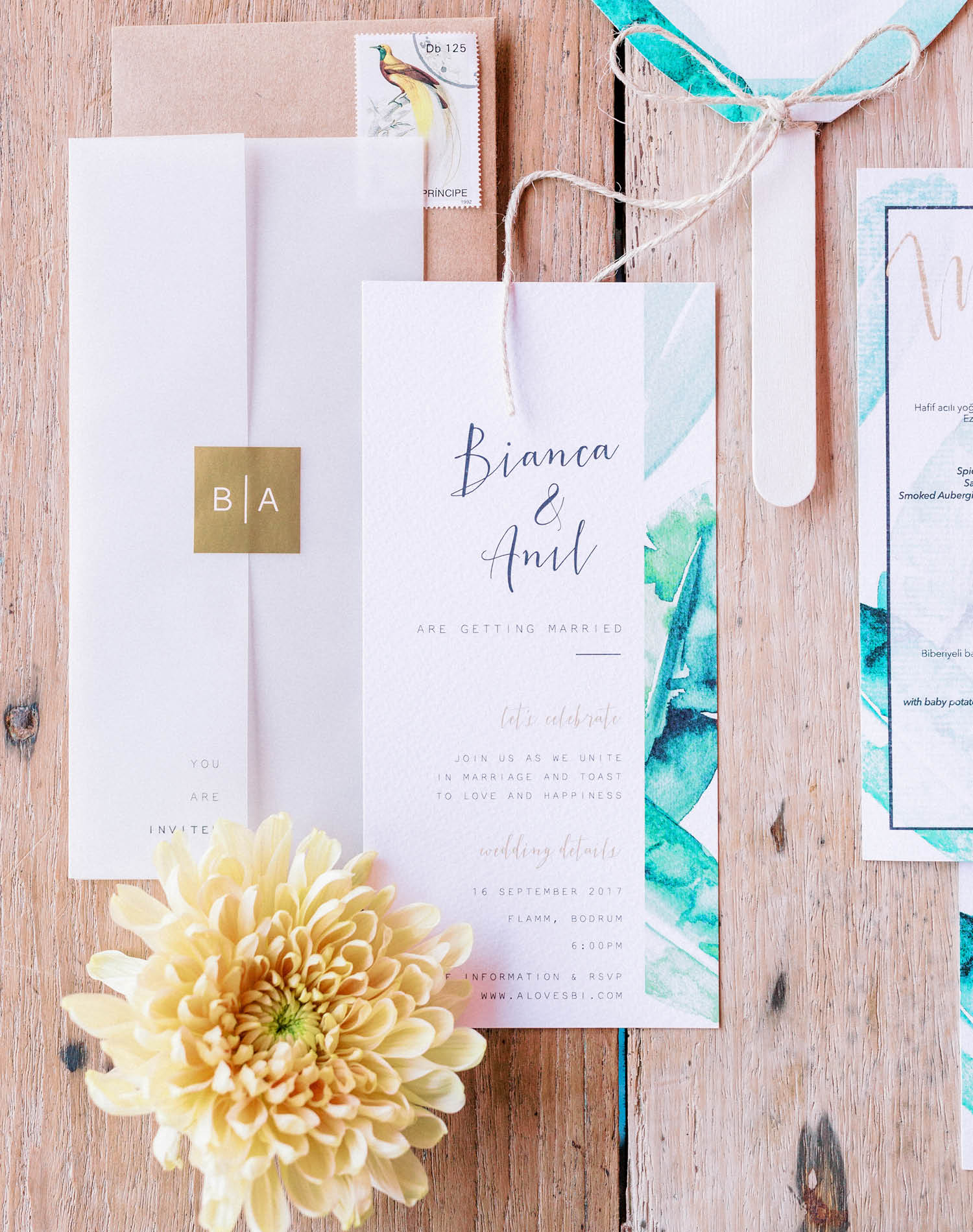Elopement Wedding Photograher - Flamm Bodrum Wedding Invitation Suit