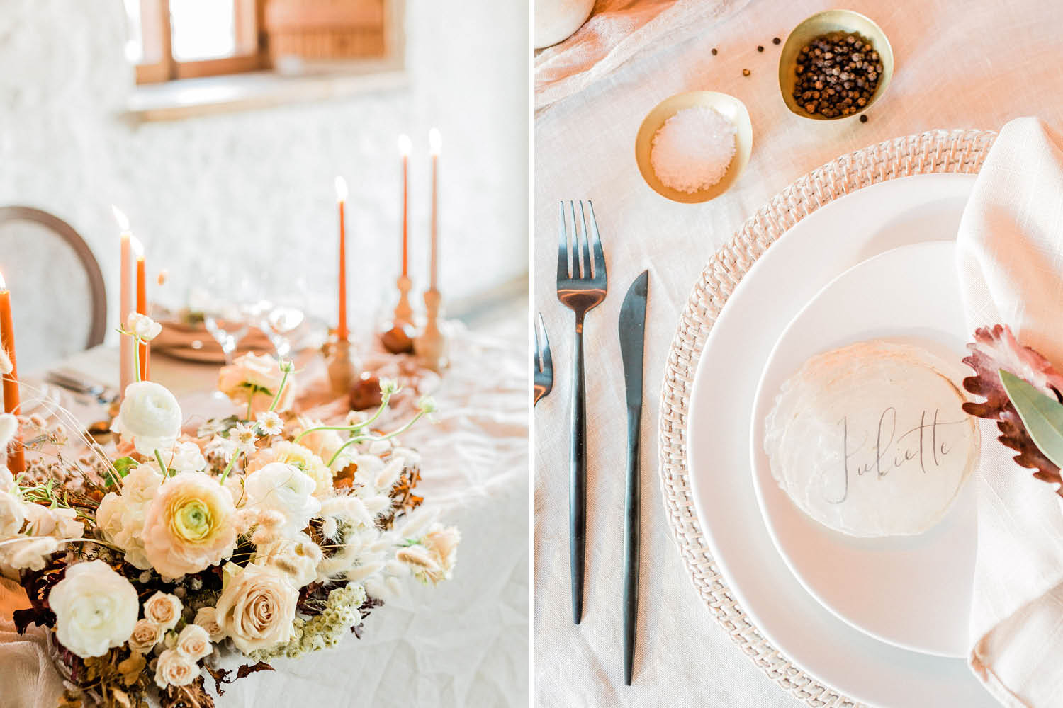 French Farm House Inspired Wedding in Quebec Auberge Saint-Antoine - Wedding Reception Table Details