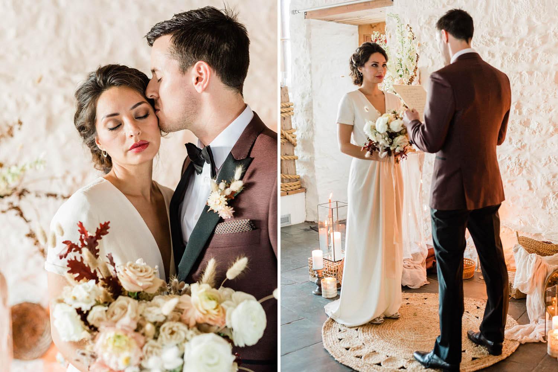 French Farm House Inspired Wedding in Quebec Auberge Saint-Antoine - Wedding Ceremony