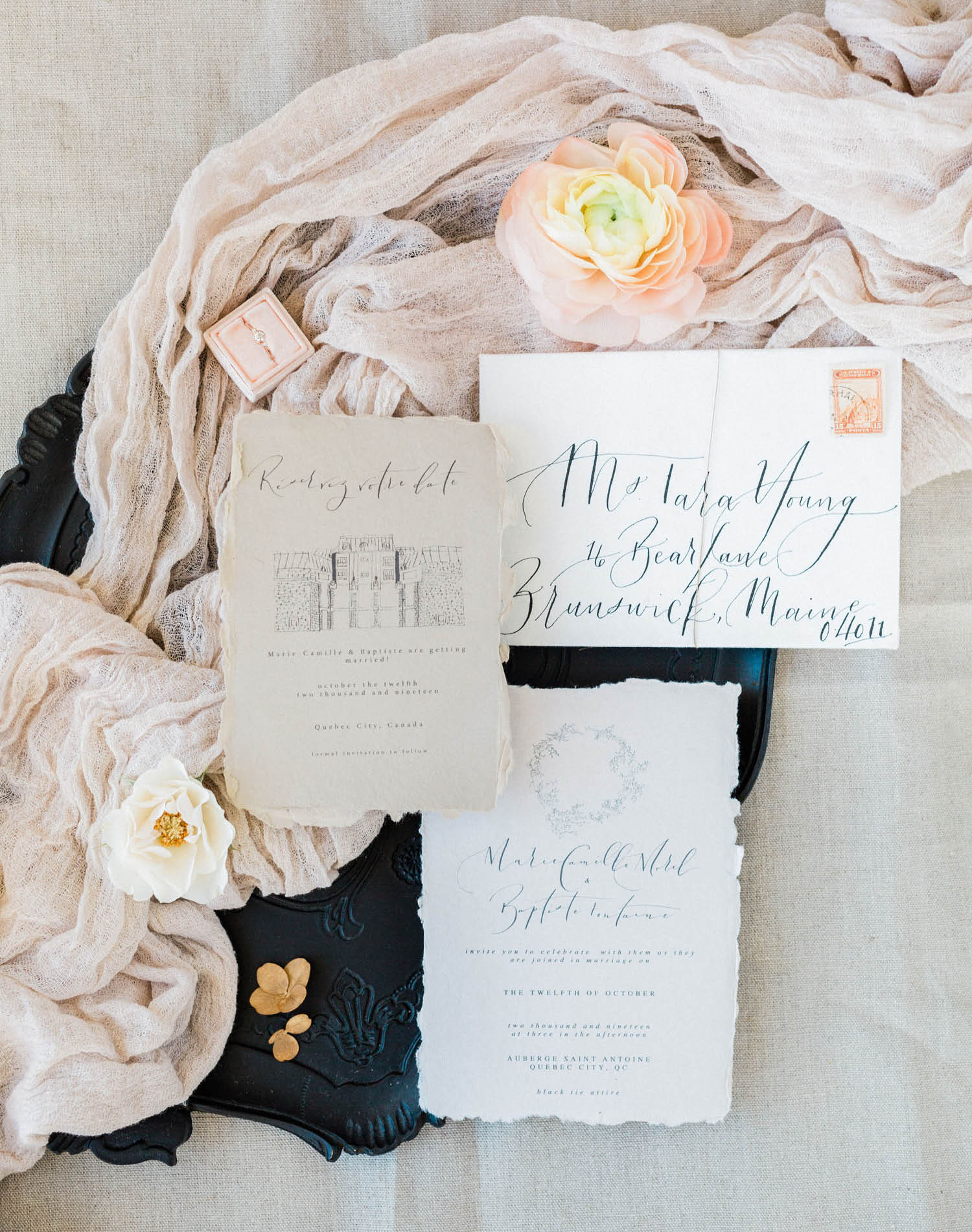 French Farm House Inspired Wedding in Quebec Auberge Saint-Antoine - Wedding Invitation Suite by Oh Joy Calligraphy