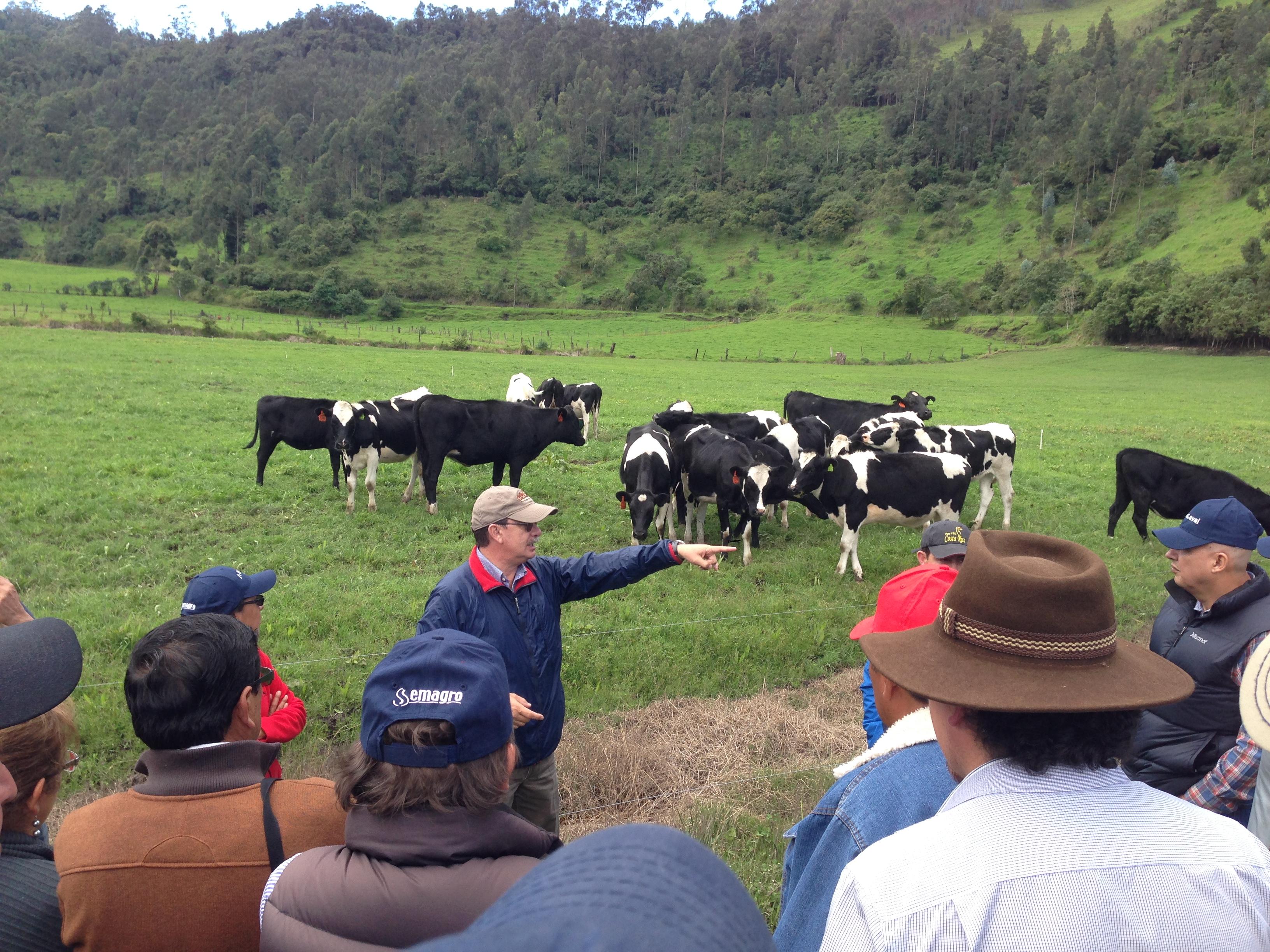 Grupo de ganaderos aprendiendo sobre manejo de potreros en ecuador con Carlos Batallas