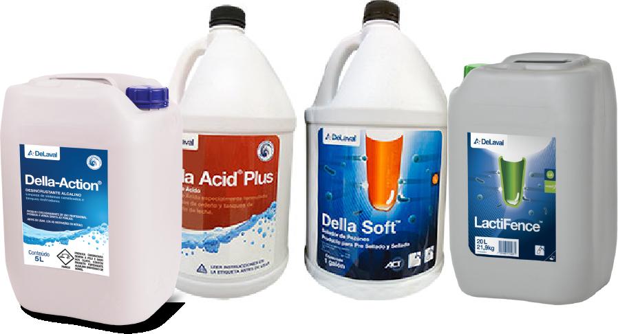 Detergentes DeLaval DellaAction DellaSoft DellaAcid Lactifence