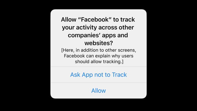 The pop-up prompt displayed on iOS 14 devices in Apple's new App Tracking Transparency update