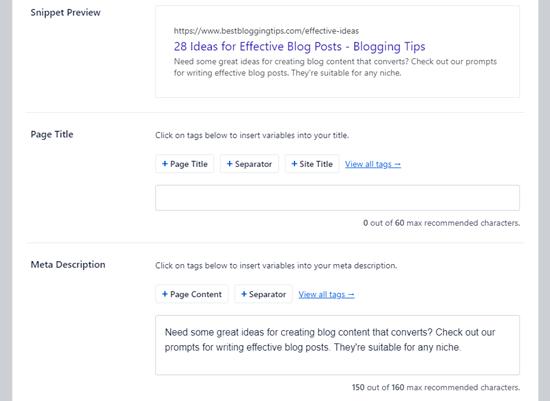Wordpress meta description example