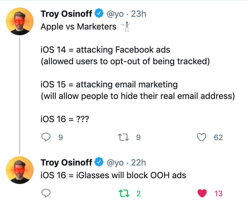 tweet against apple ios 15