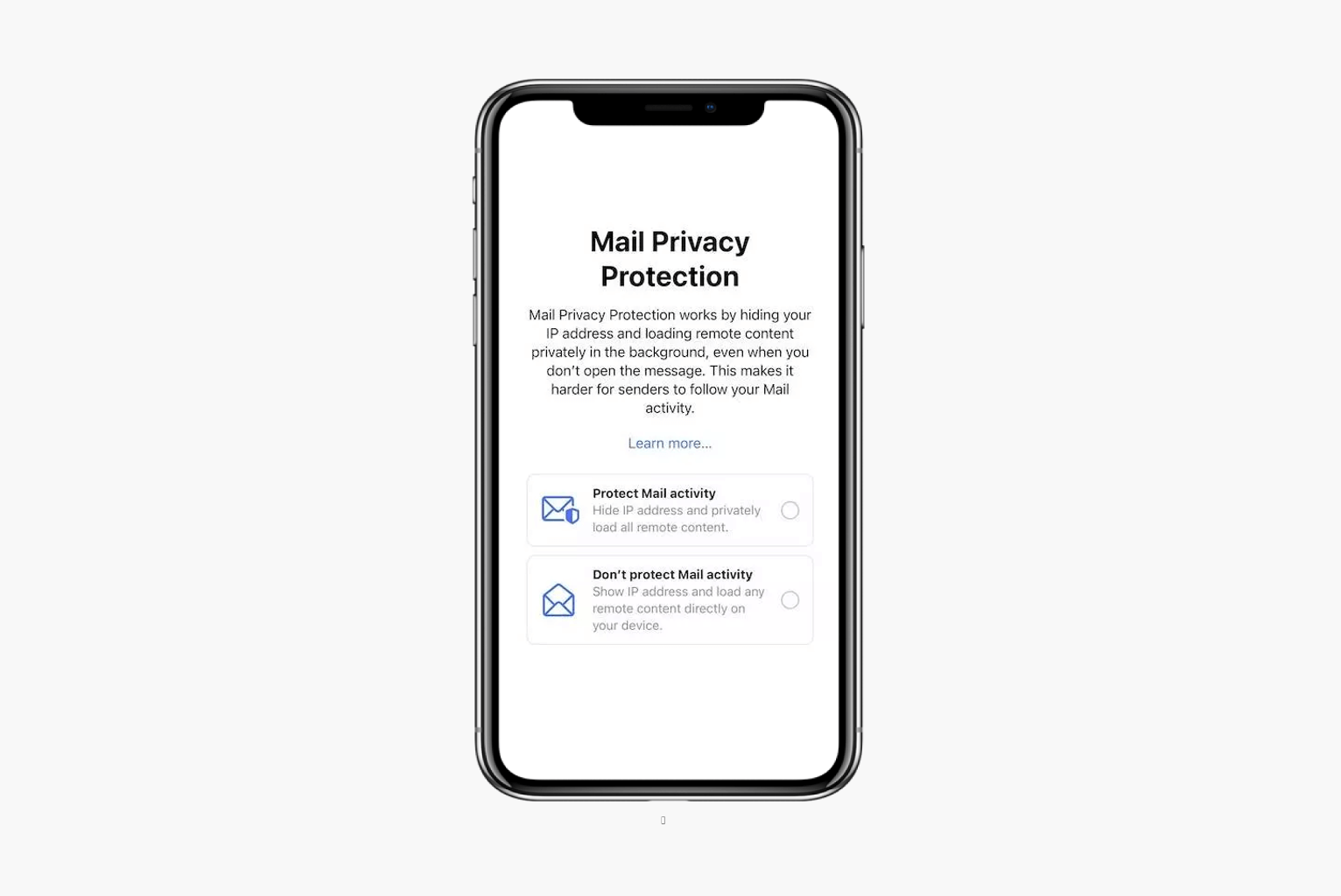 phone with apple email privacy prompt