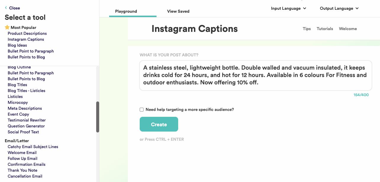 copy.ai instagram captions examples