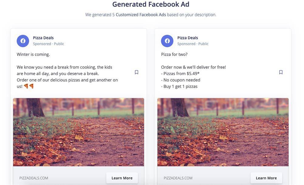 writesonic facebook ad example