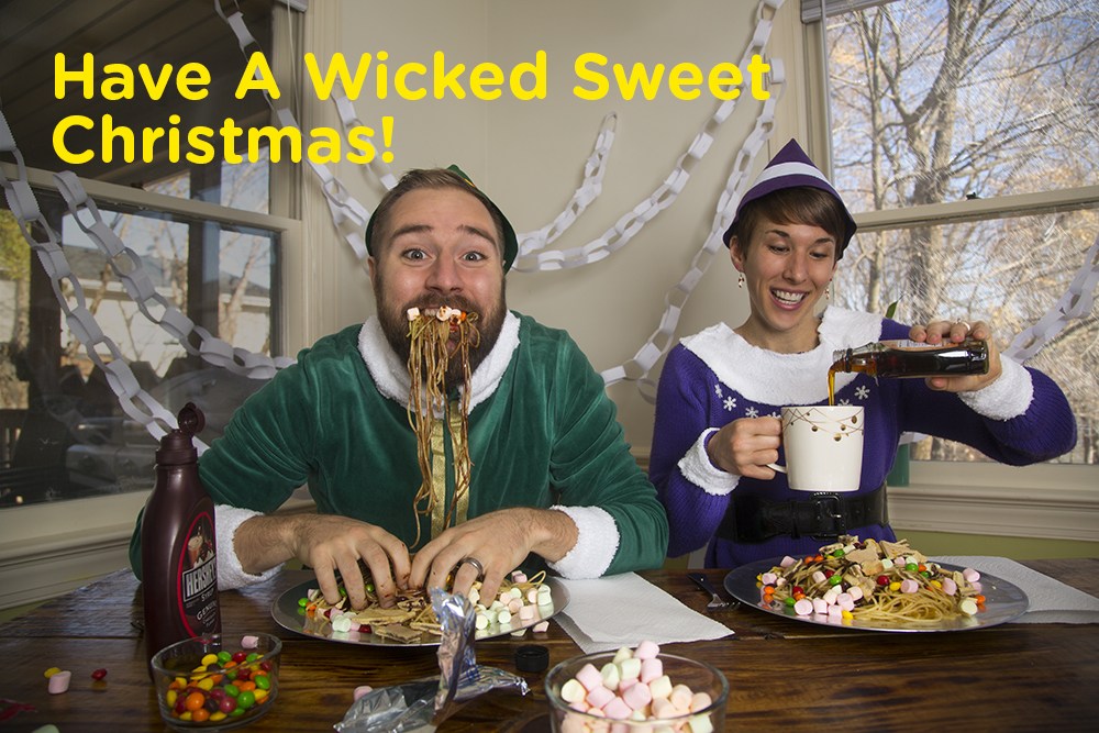 Have a Wicked Sweet Christmas. Kyle and Ali dressed as Buddy the Elf (eating spaghetti with syrup and candy)