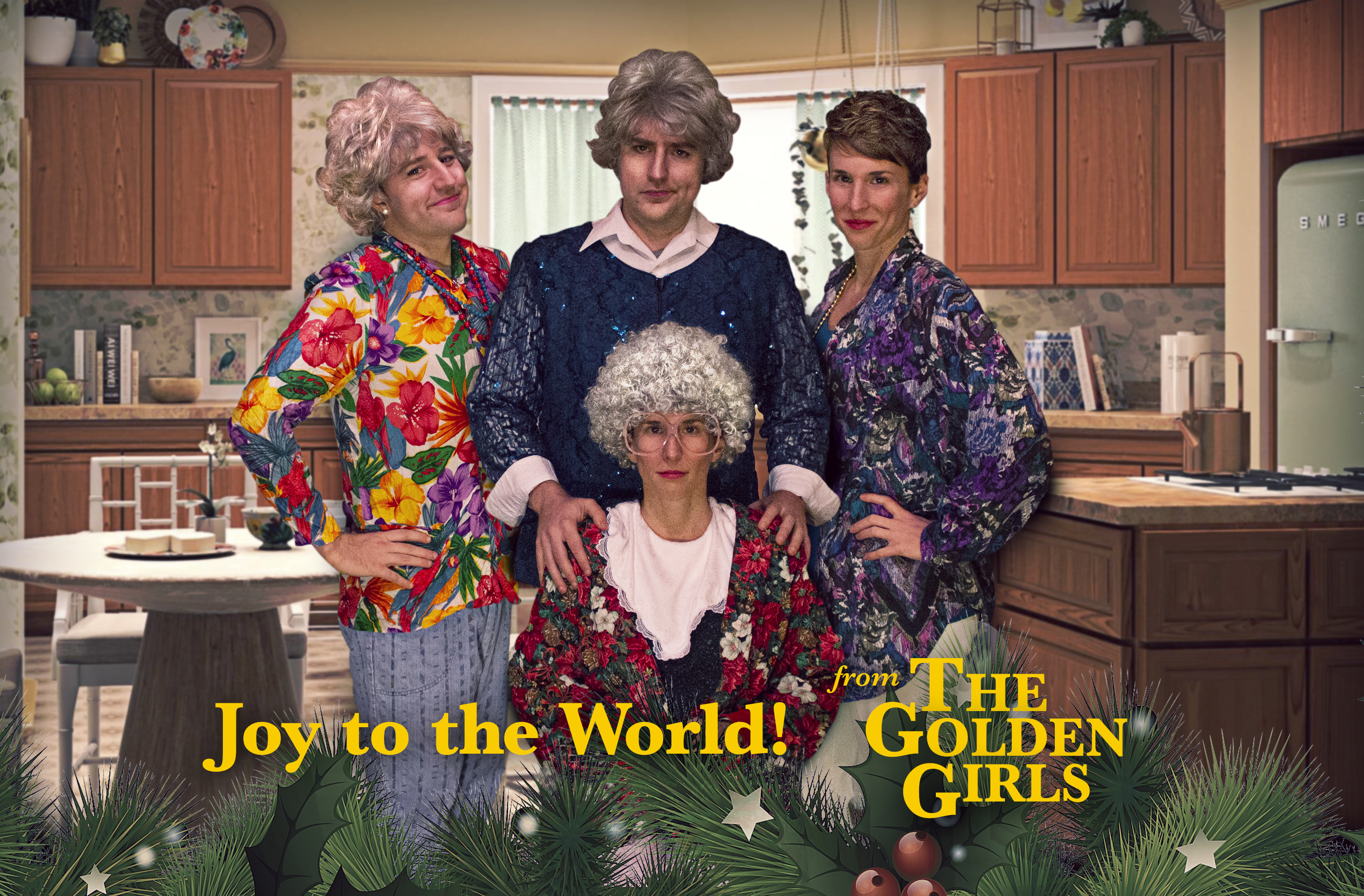 Kyle and Ali dressed as the 4 women from the Golden Girls.  Joy to the world! From The Golden Girls.