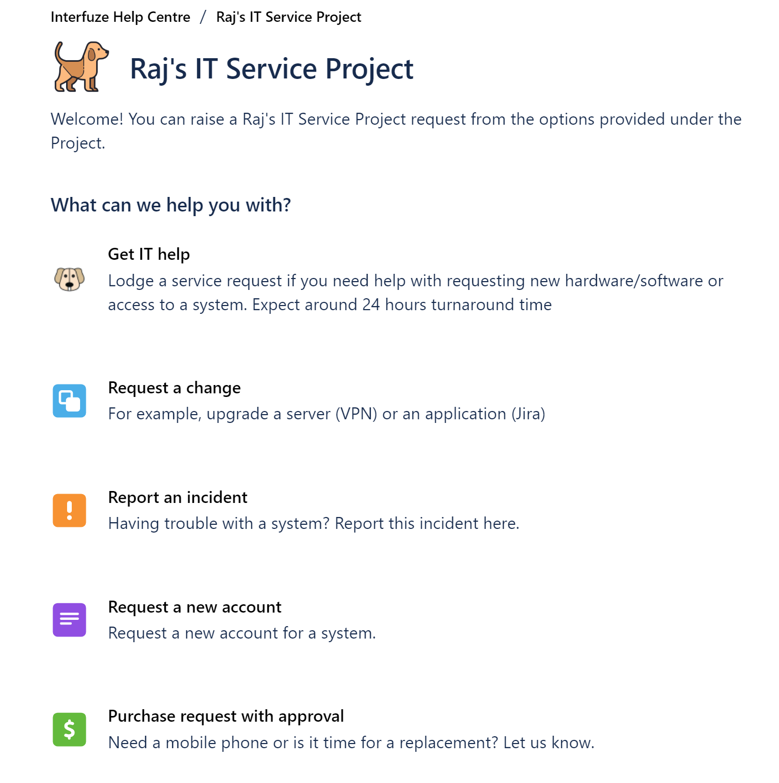 Jira Service Management IT Service Project