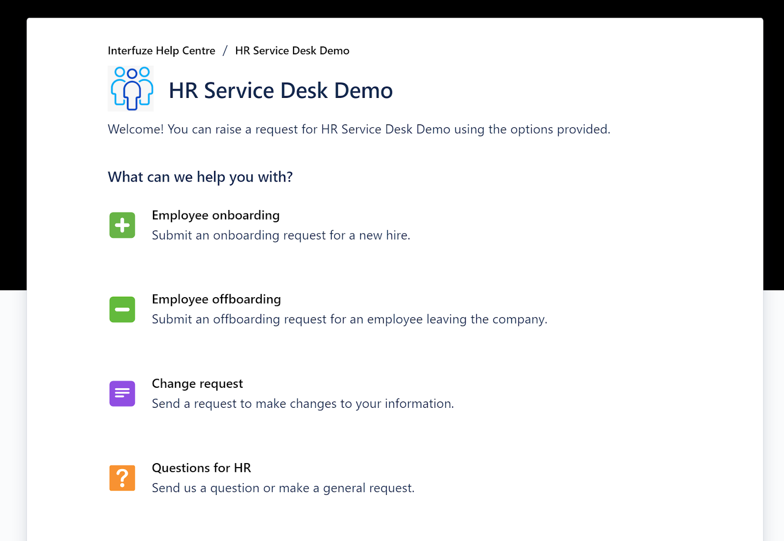 Jira Service Management HR Service Desk Demo