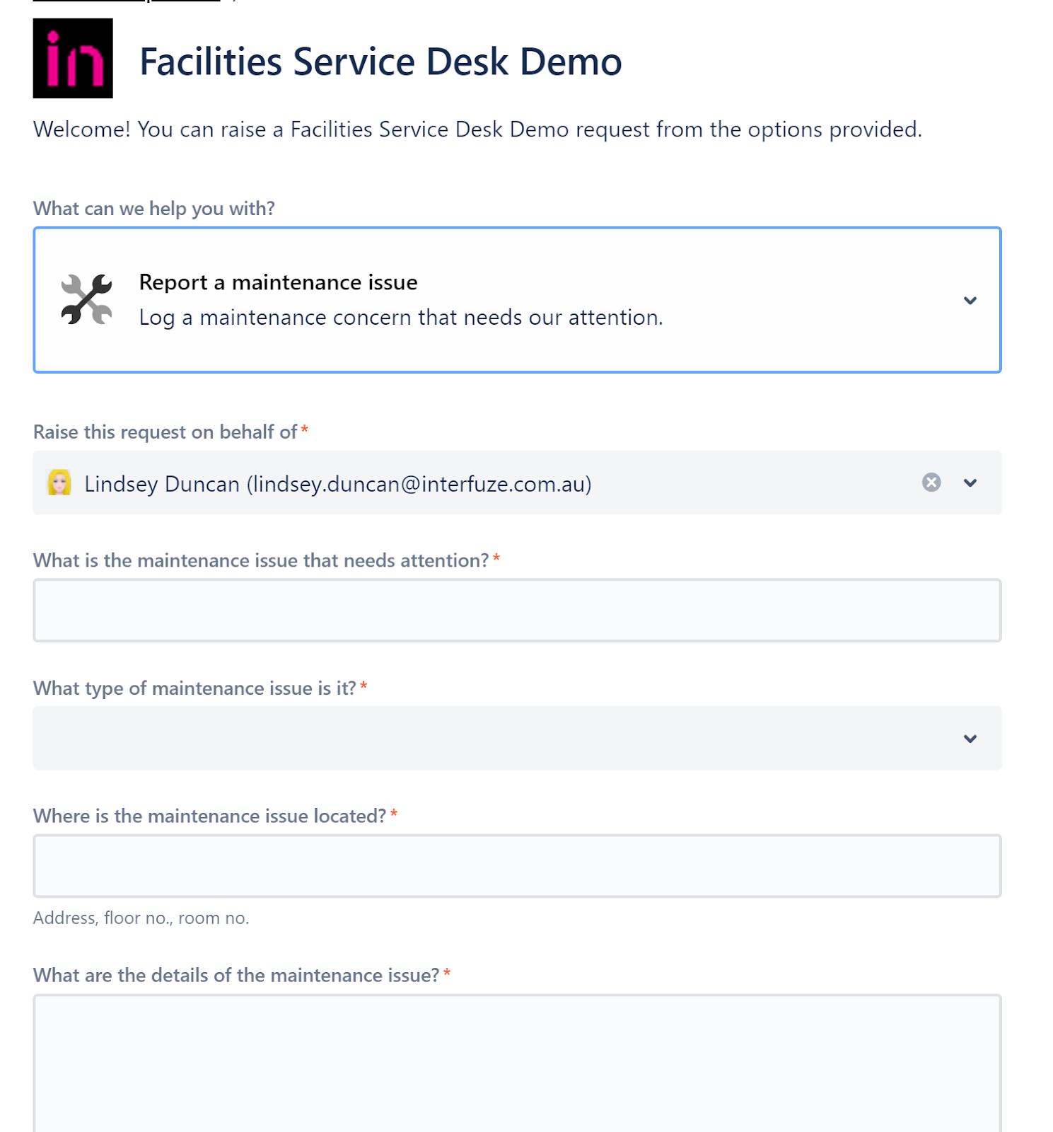 Jira Service Management Facilities Service Desk Demo