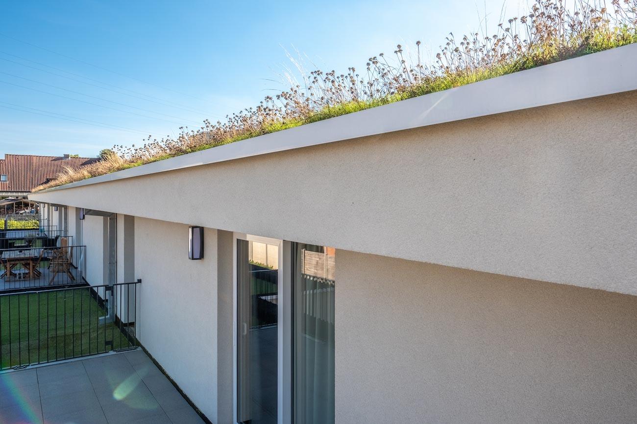 Klompenfabriek serviceflats Achtergevel CLT gebouw met groen dak