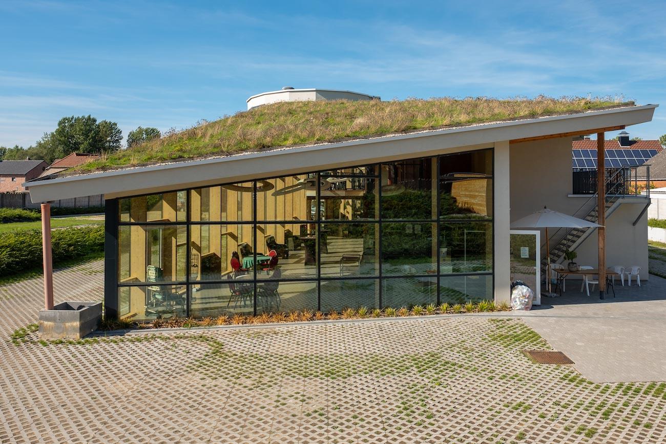 Klompenfabriek serviceflats Zijgevel CLT gebouw vliesgevel groen dak