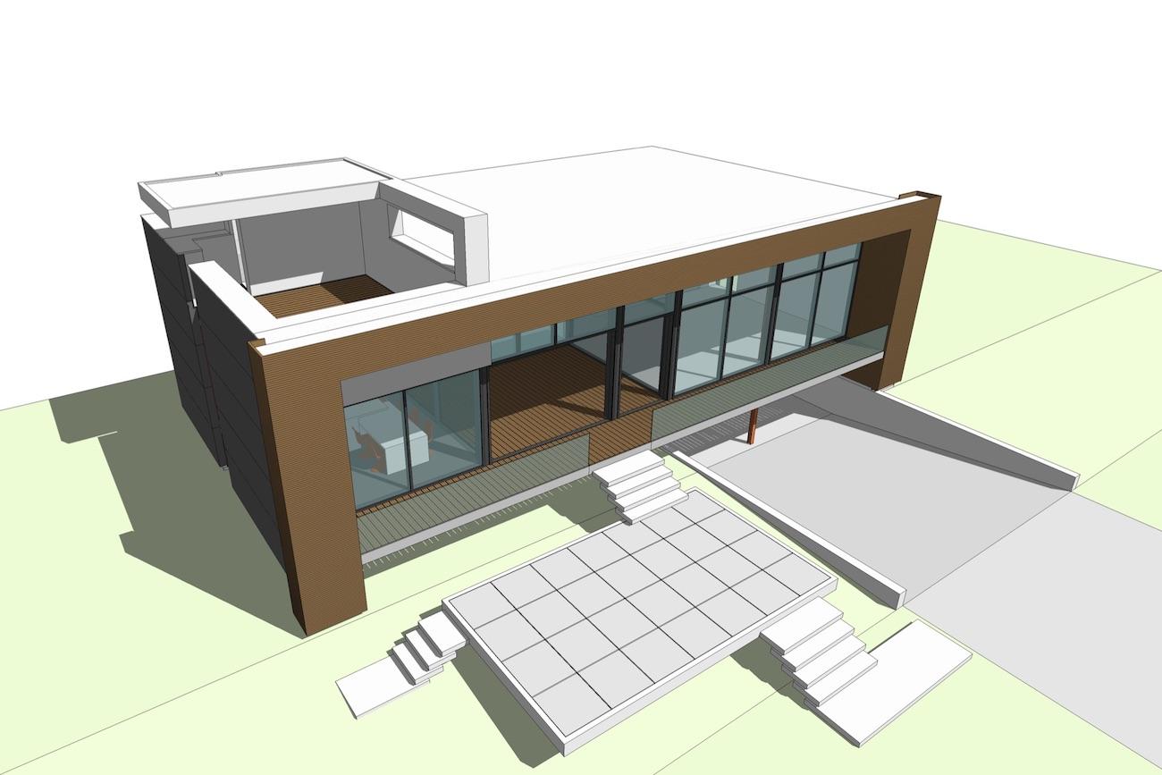 Woning in Sint-Amandsberg ontwerp 3D model overzicht voorgevel