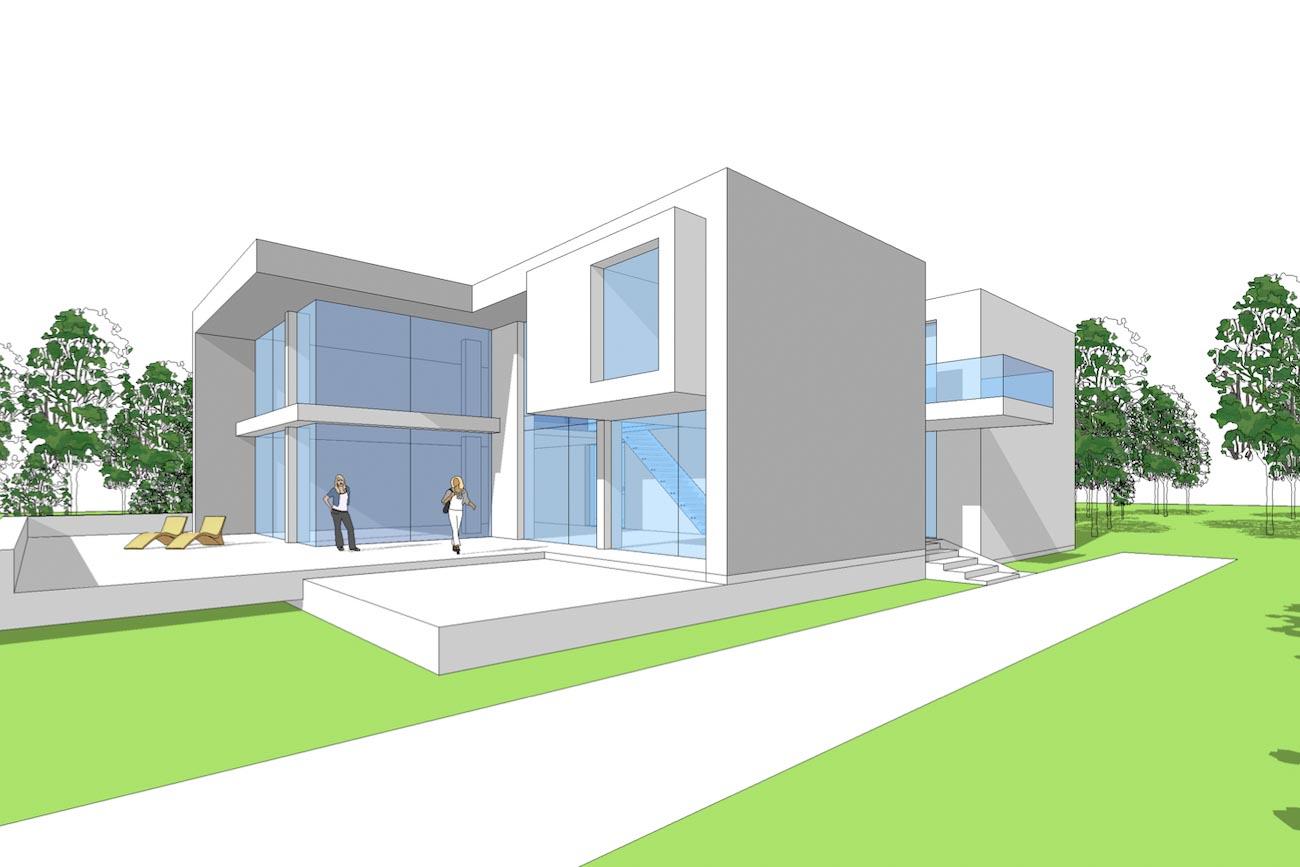 Woning Waasmunster 3D model aanzicht ontwerp overzicht zijgevel