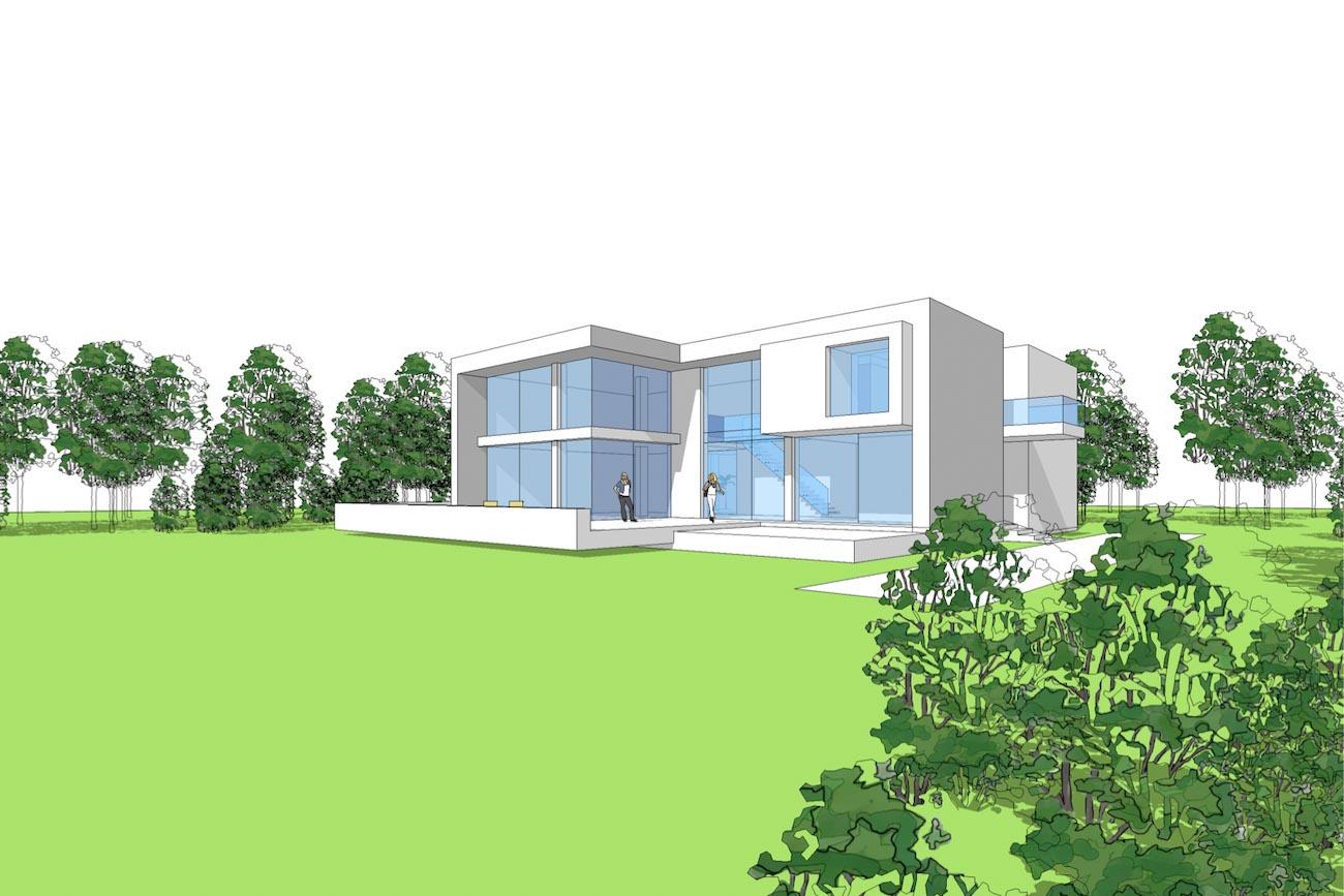 Woning Waasmunster 3D model aanzicht ontwerp overzicht voorgevel