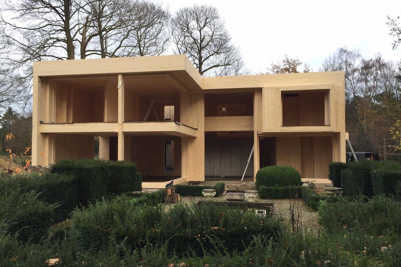 Woning Waasmunster voorgevel duurzaam CLT gebouw in ontwerp