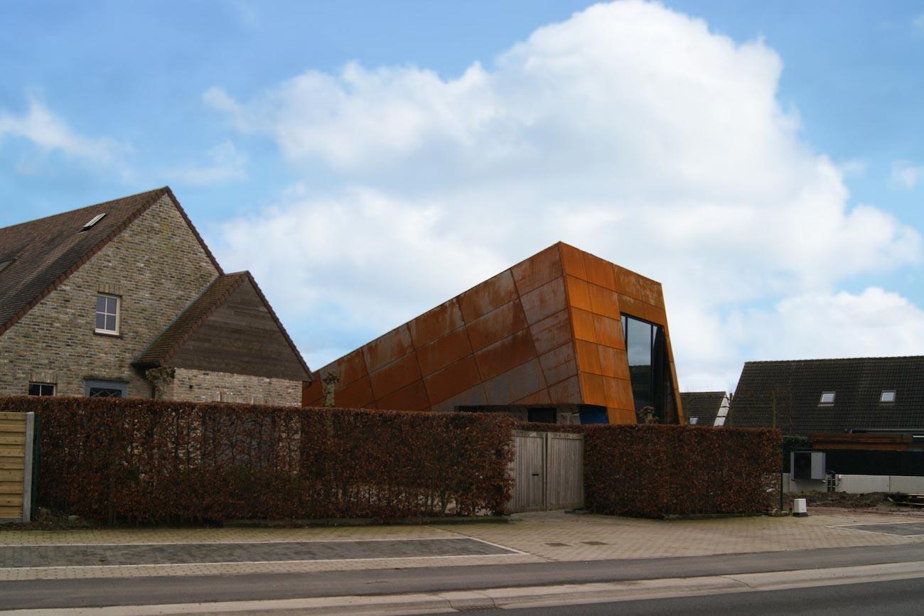 Carbofisc Kantoor CLT gebouw met corten staal gevel