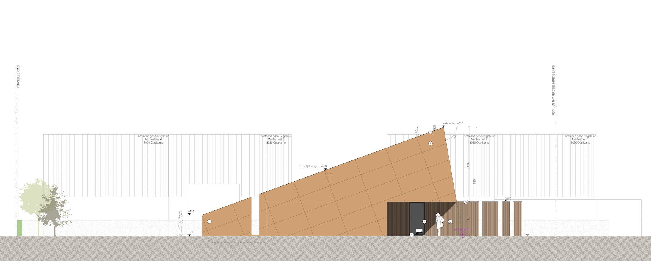 Carbofisc Kantoor CLT zijgevel links 2D tekening