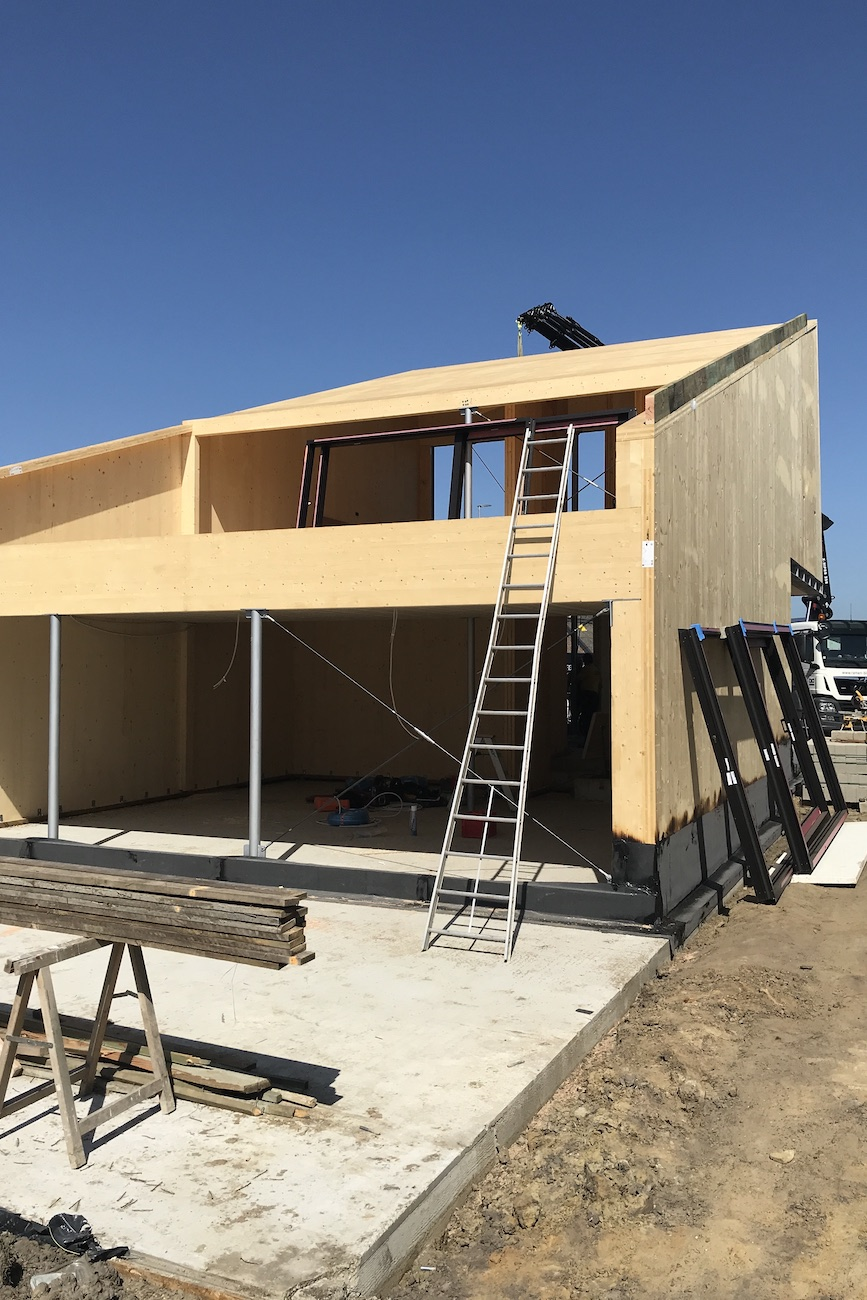 Carbofisc Kantoor CLT gebouw duurzaam constructie in uitvoering achter gevel