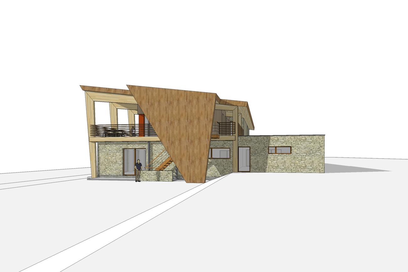 Kamping Glawan in De Ardennen 3D render CLT cafetaria met traditionele gevelsteen en moderne dak zijgevel rechts