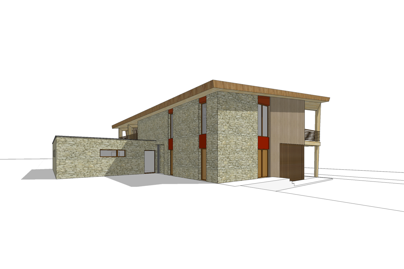 Kamping Glawan in De Ardennen 3D render duurzaam cafetaria in CLT zijgevel links