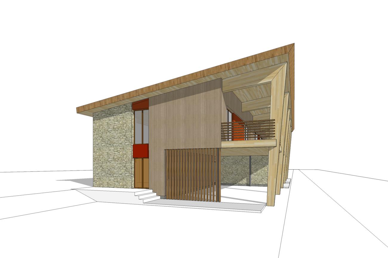 Kamping Glawan in De Ardennen 3D render CLT cafetaria met traditionele gevelsteen en moderne dak zijgevel links