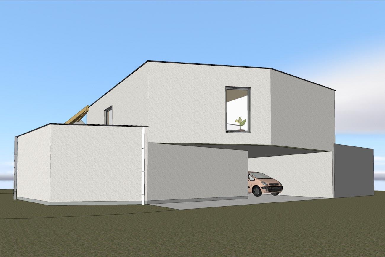 Woning in Dendermonde 3D render CLT huis voorgevel