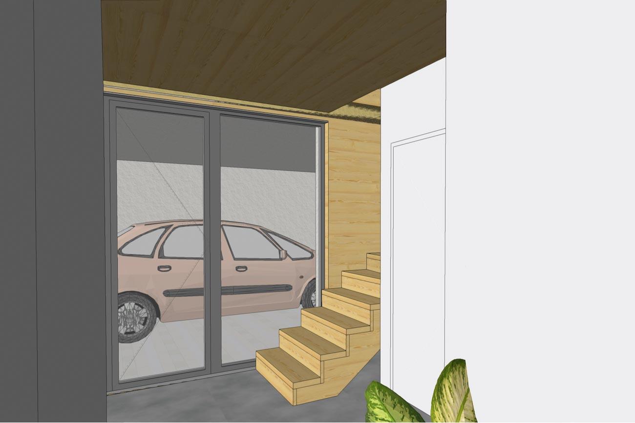 Woning in Dendermonde 3D render CLT interieur inkom