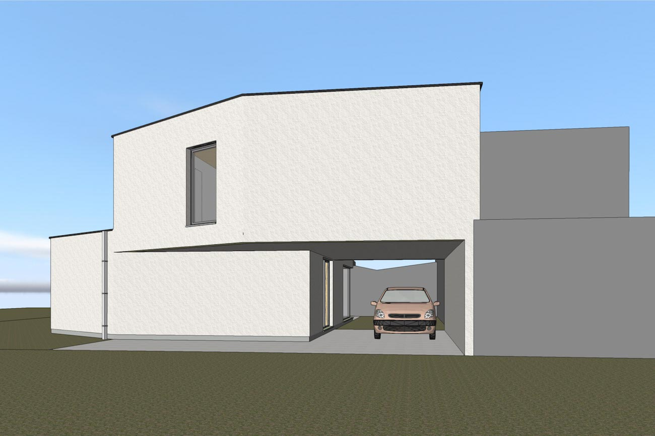 Woning in Dendermonde 3D render CLT huis carport
