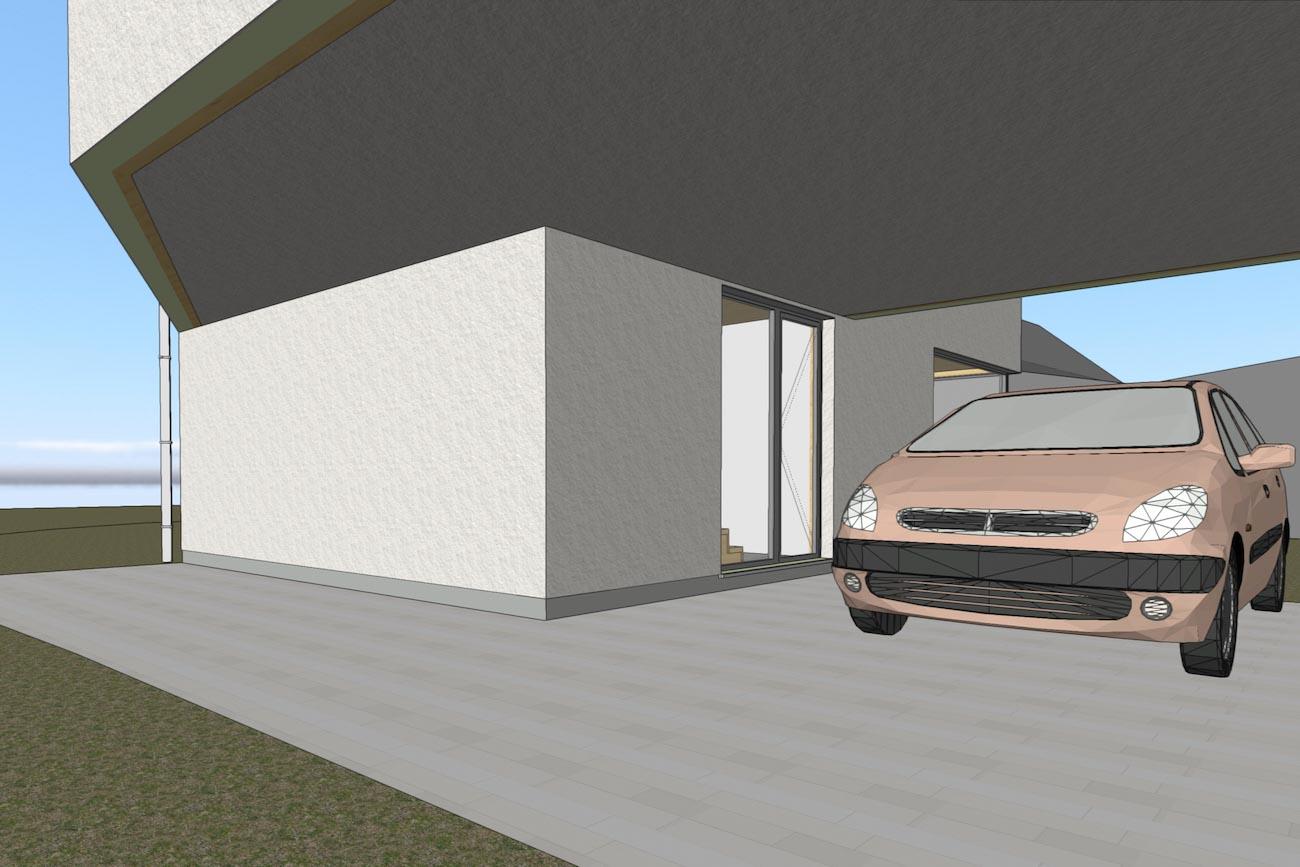 Woning in Dendermonde 3D render CLT huis carport en inkom