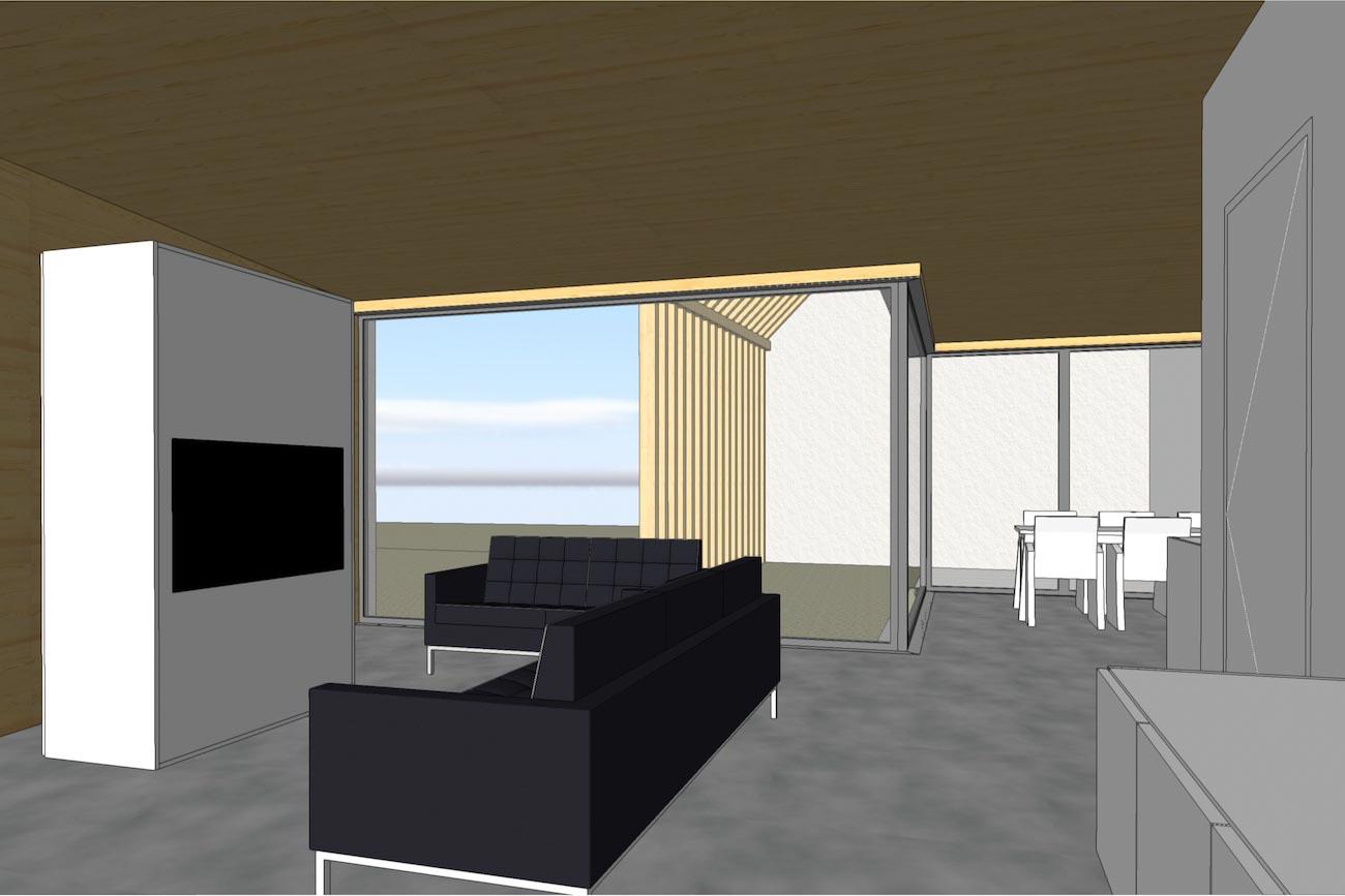 Woning in Dendermonde 3D render CLT interieur leefruimte