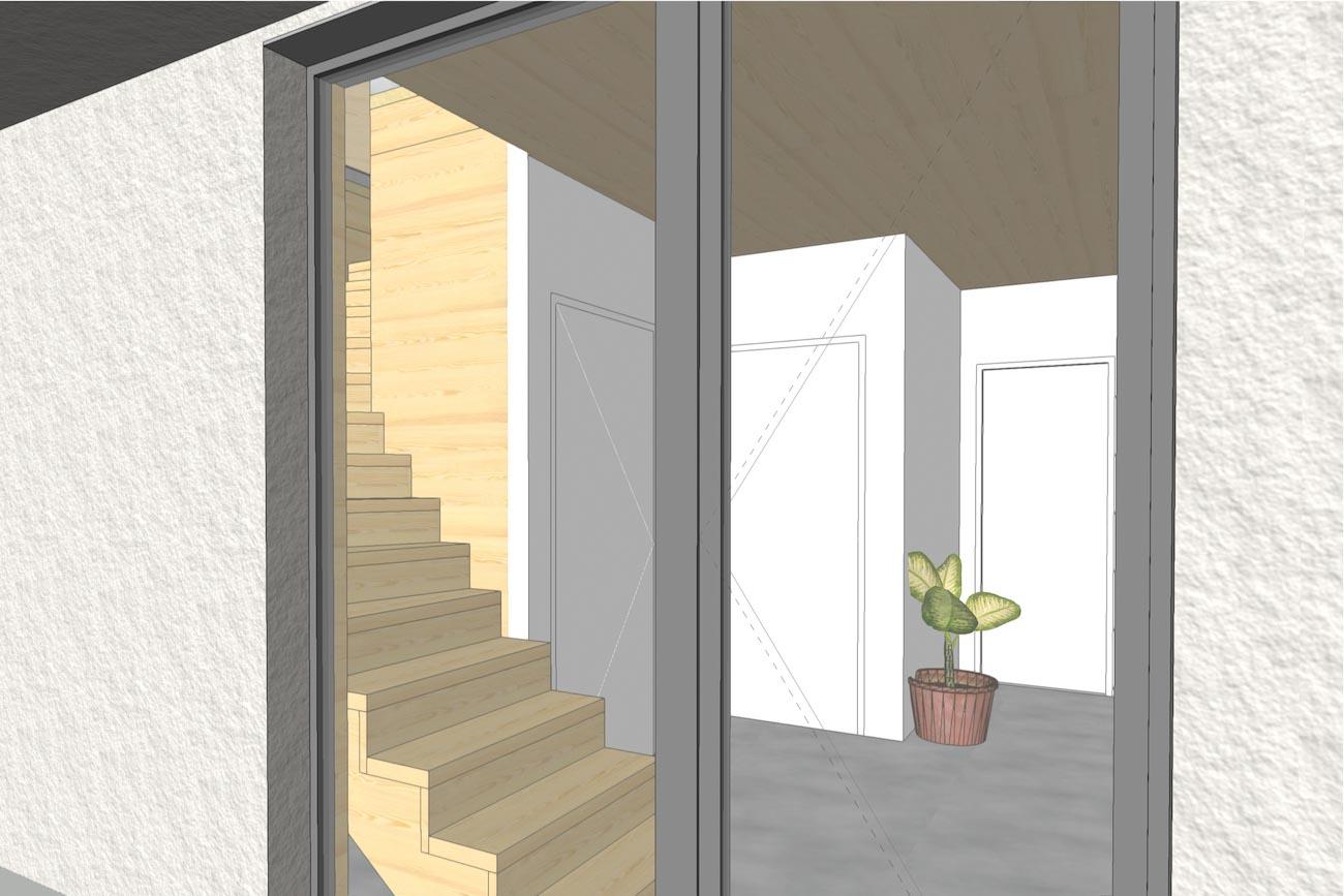 Woning in Dendermonde 3D render CLT huis inkom en houten trap