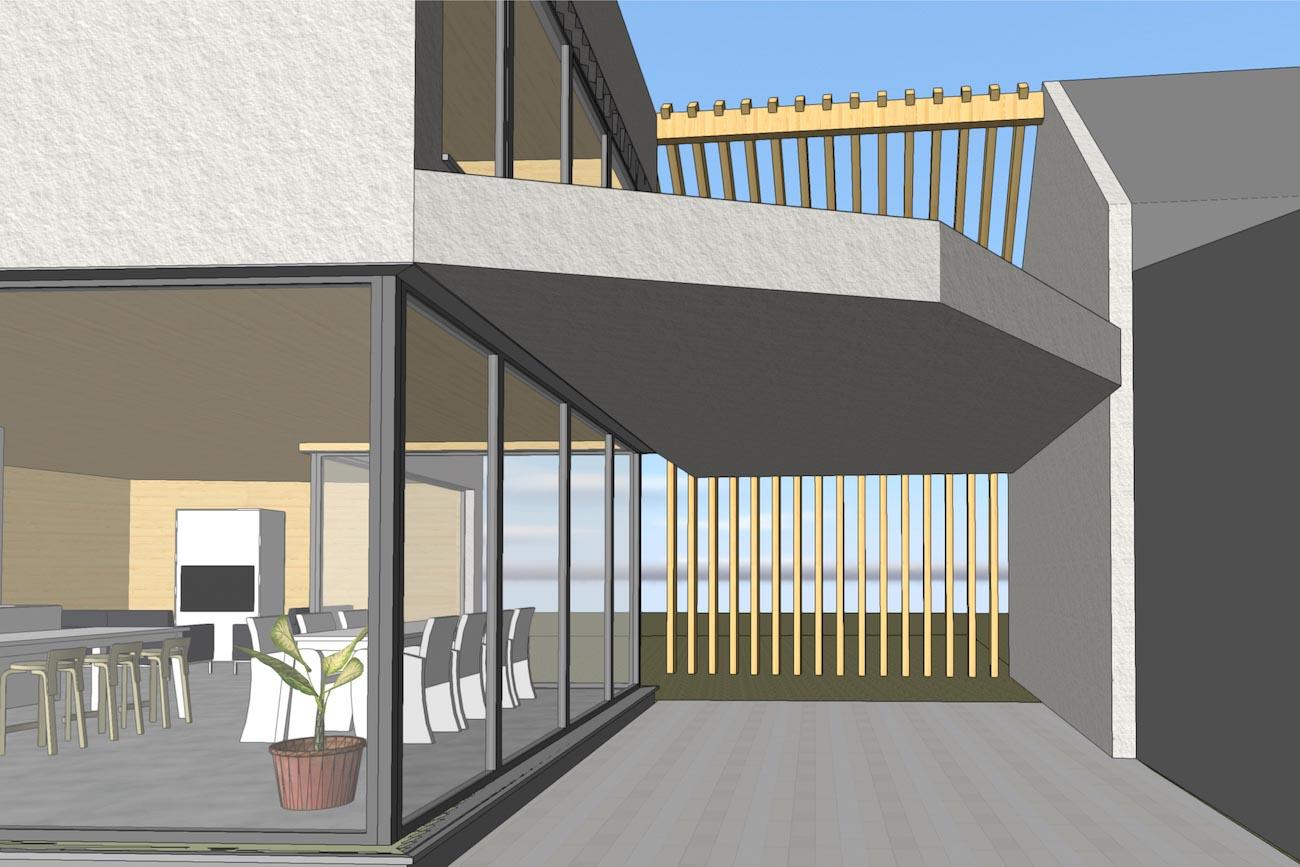 Woning in Dendermonde 3D render CLT huis overdekt terras