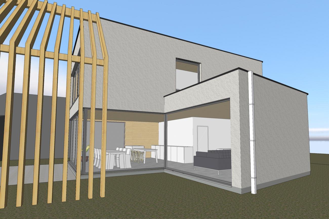 Woning in Dendermonde 3D render CLT huis zijgevel