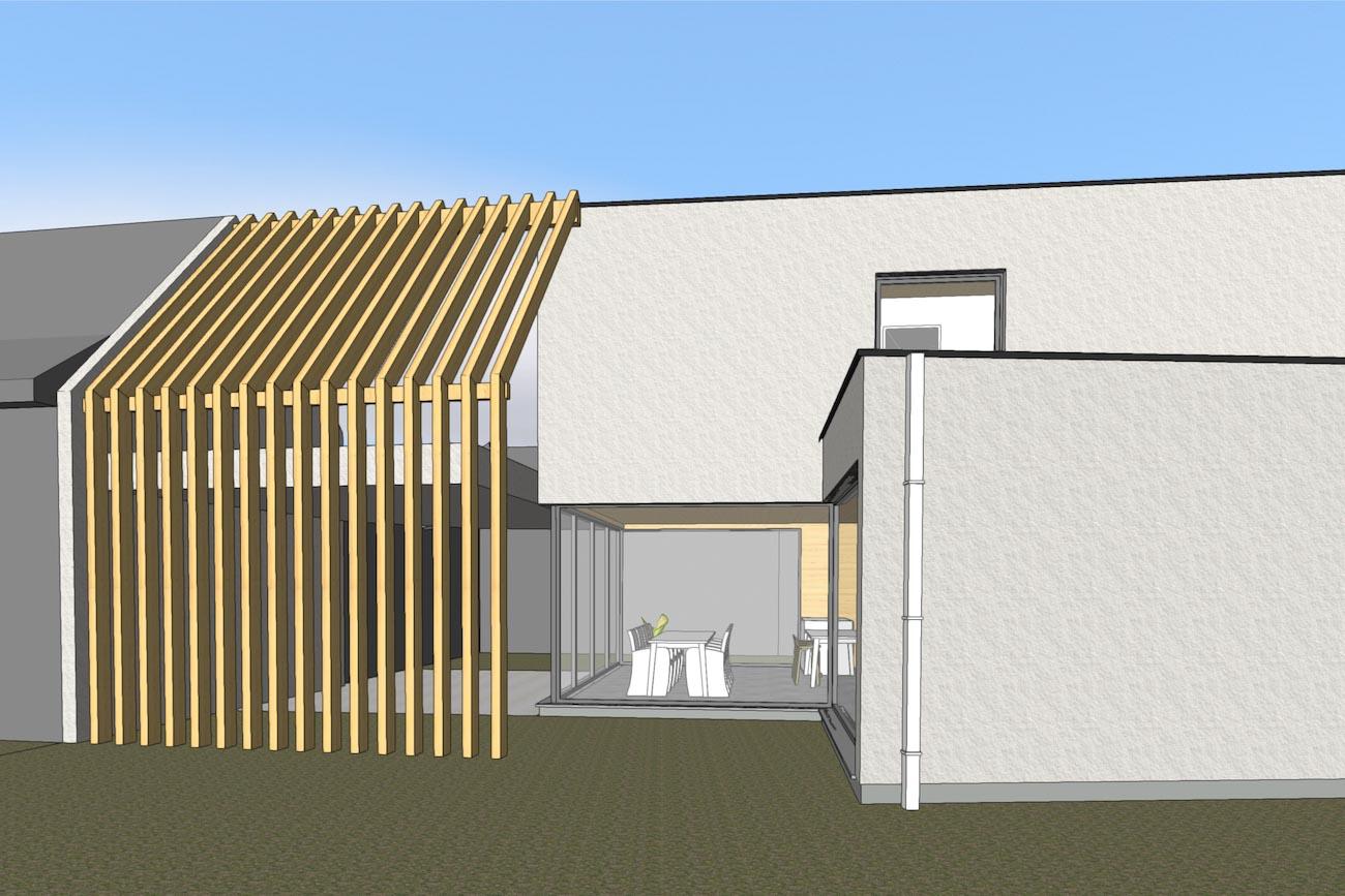Woning in Dendermonde 3D render CLT huis zijgevel met houten tuinmuur