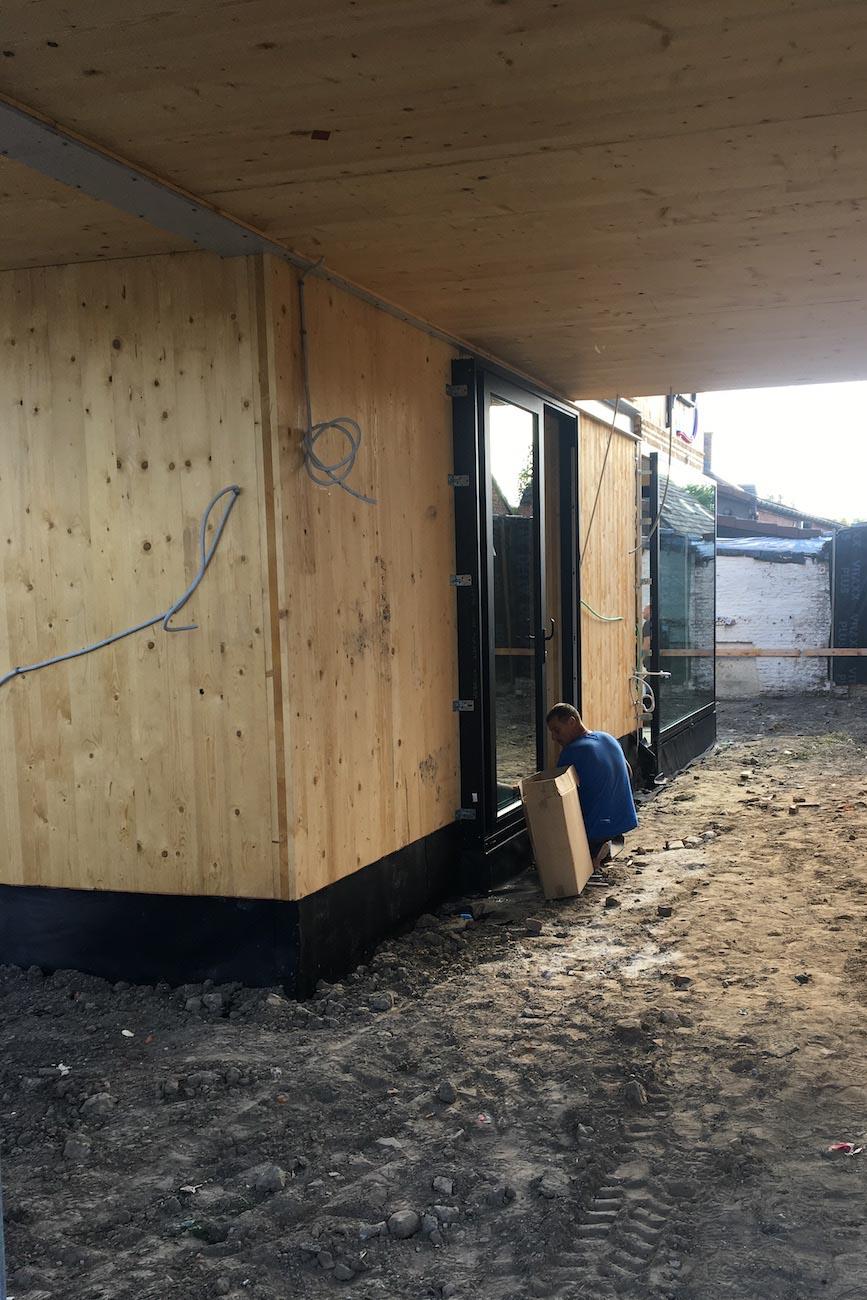 Woning in Dendermonde CLT huis in uitvoering carport