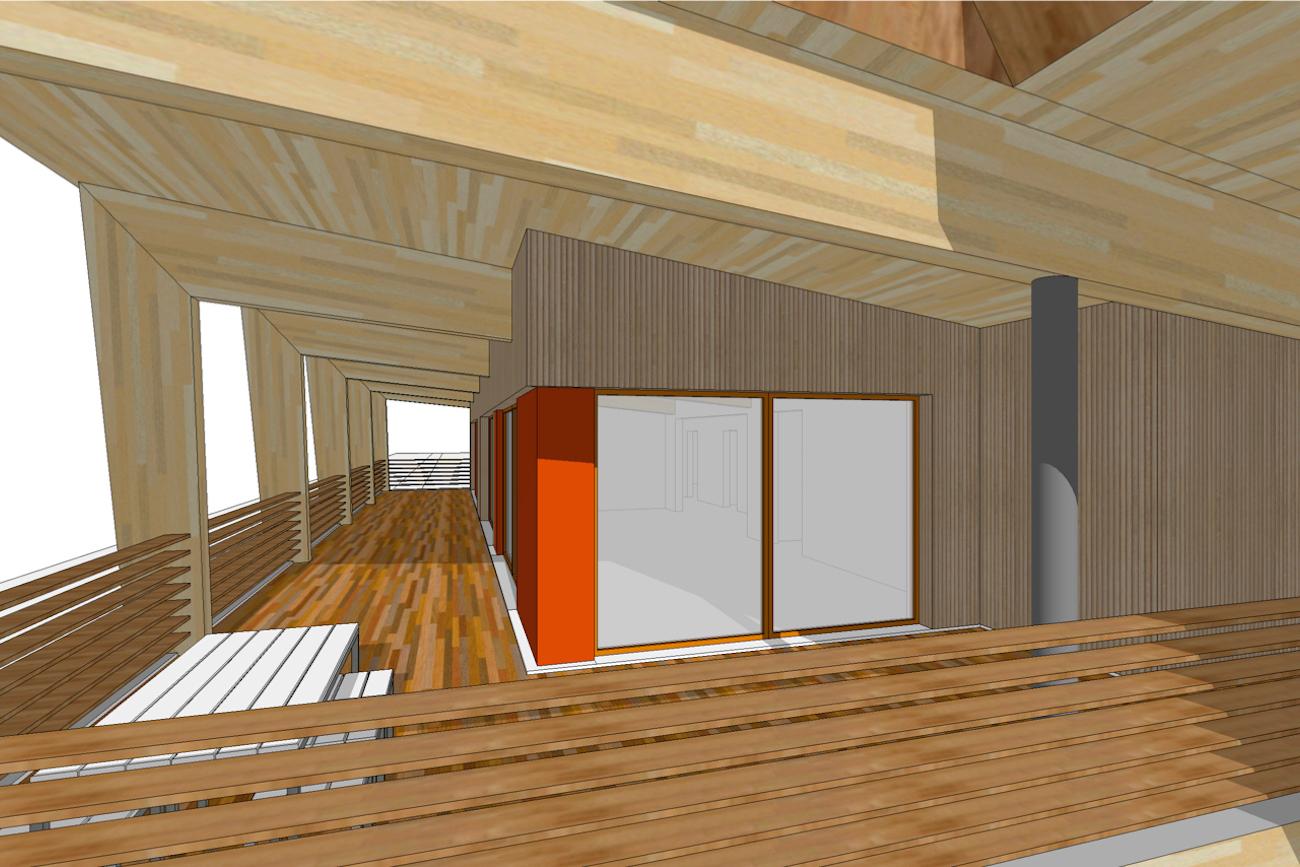 Kamping Glawan in De Ardennen 3D render duurzaam cafetaria in CLT terras