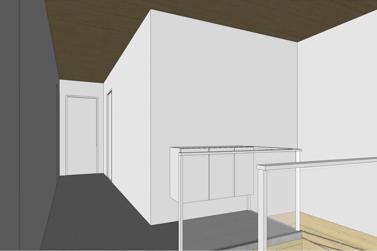Woning in Dendermonde 3D render CLT huis verdieping hal