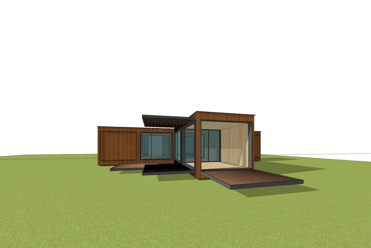 ICare Nest 3D model duurzaam modulair huis in CLT met open overdekt terras combinatie modules voor uitbreiding perspectief