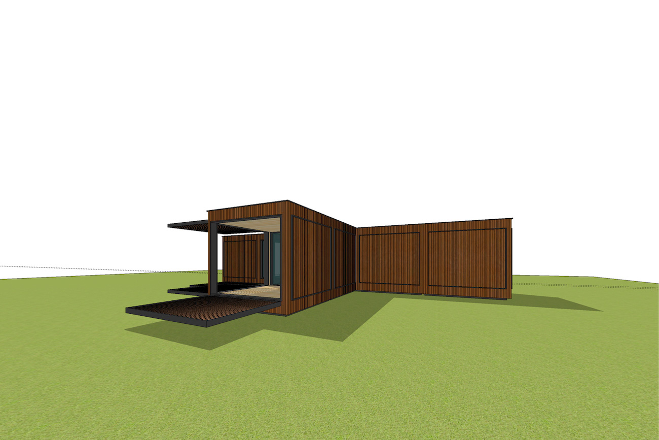 ICare Nest 3D model duurzaam modulair huis in CLT met open overdekt terras combinatie modules voor uitbreiding perspectief 2