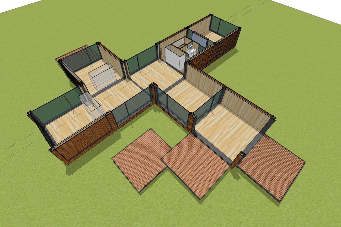 ICare Nest 3D model duurzaam modulair huis in CLT met overdekt terras combinatie modules voor uitbreiding interieur