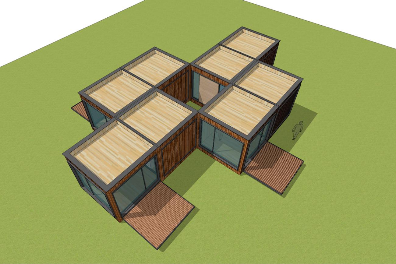 ICare Nest 3D model duurzaam modulair huis in CLT met overdekt terras combinatie modules voor meergezinnen met een binnen pateo
