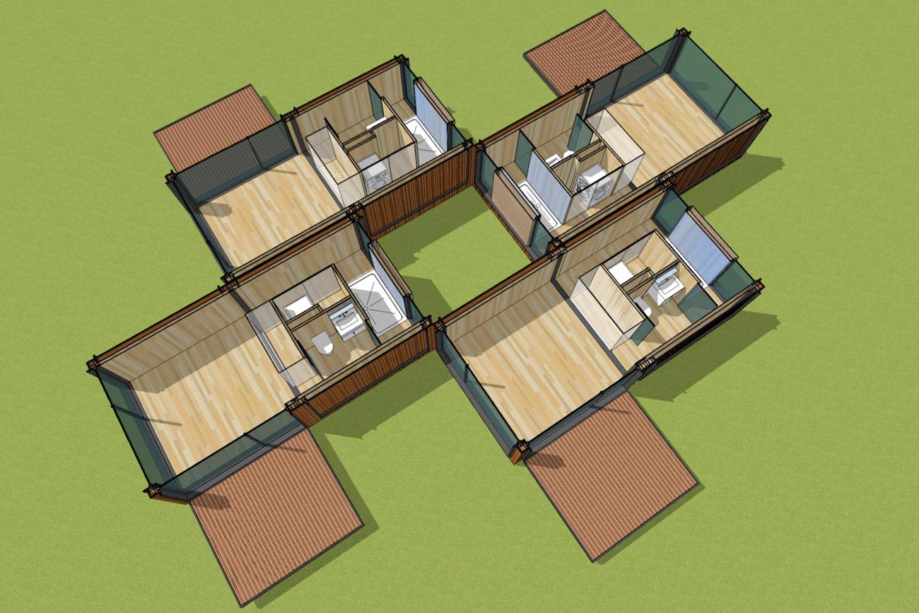 ICare Nest 3D model duurzaam modulair huis in CLT met overdekt terras combinatie modules voor meergezinnen met een binnen pateo interieur