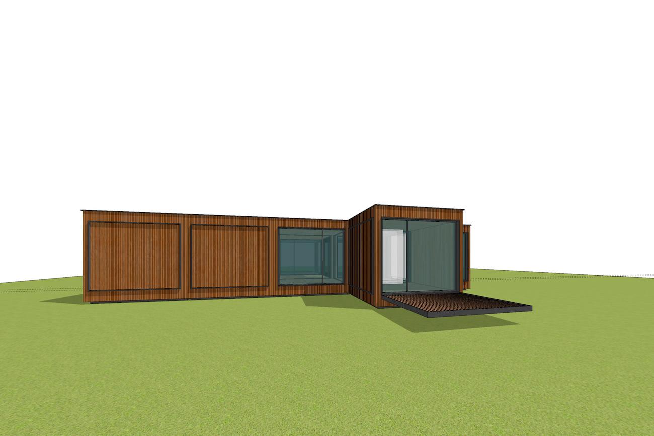 ICare Nest 3D model duurzaam modulair huis in CLT met gesloten overdekt terras combinatie modules voor uitbreiding perspectief