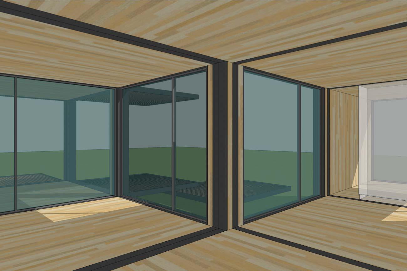 ICare Nest 3D model duurzaam modulair huis in CLT combinatie modules voor uitbreiding interieur perspectief